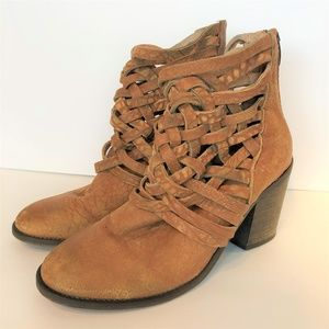 Free People Carrera Brown Distressed Leather Boots